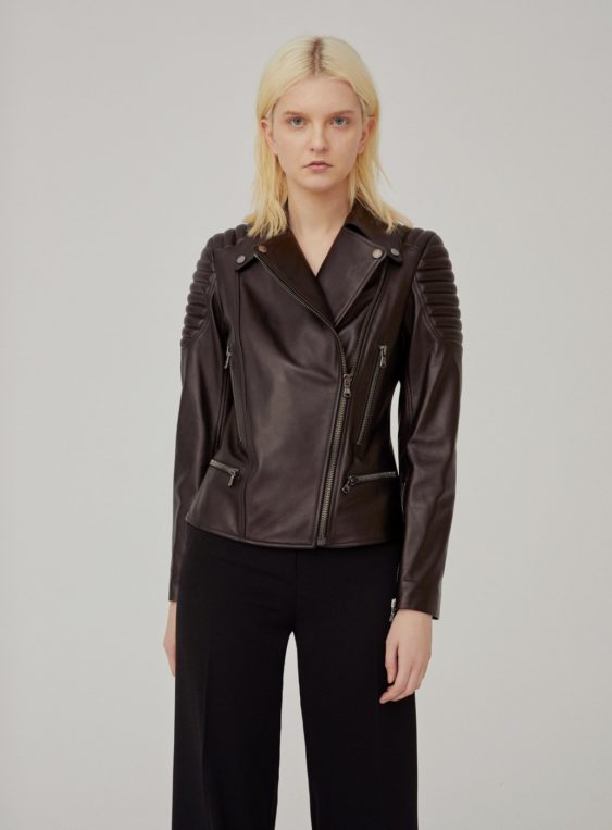women's leather slim fit biker jacket